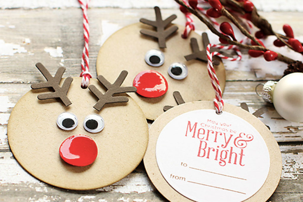 Christmas Crafts To Try With Kids - Rudolph Gift Tag